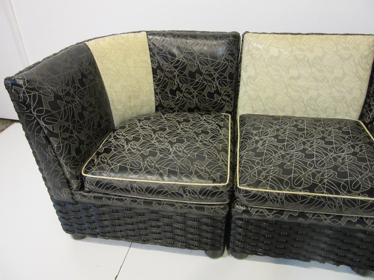 American Art Deco / 1940s Wicker Upholstered 3 Piece, Loveseat or Sofa For Sale