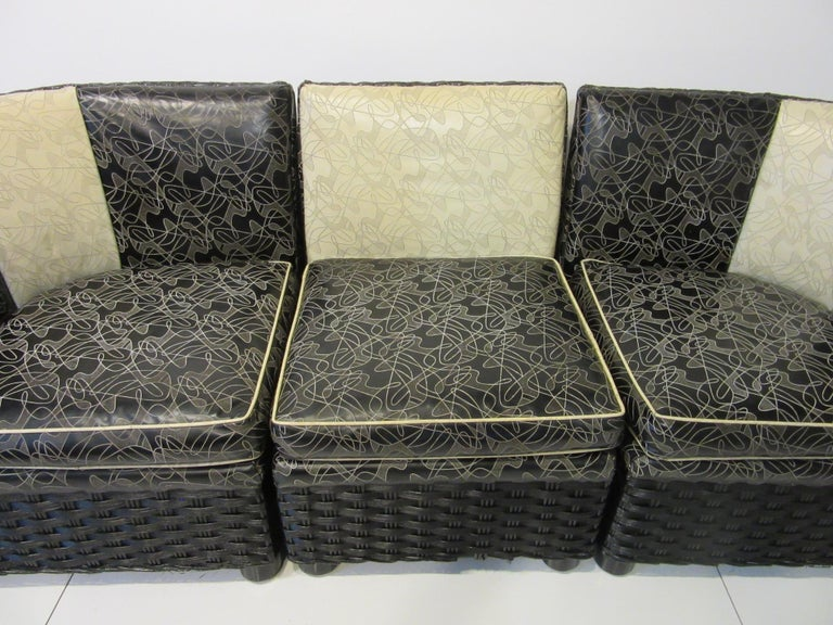 Art Deco / 1940s Wicker Upholstered 3 Piece, Loveseat or Sofa In Good Condition For Sale In Cincinnati, OH