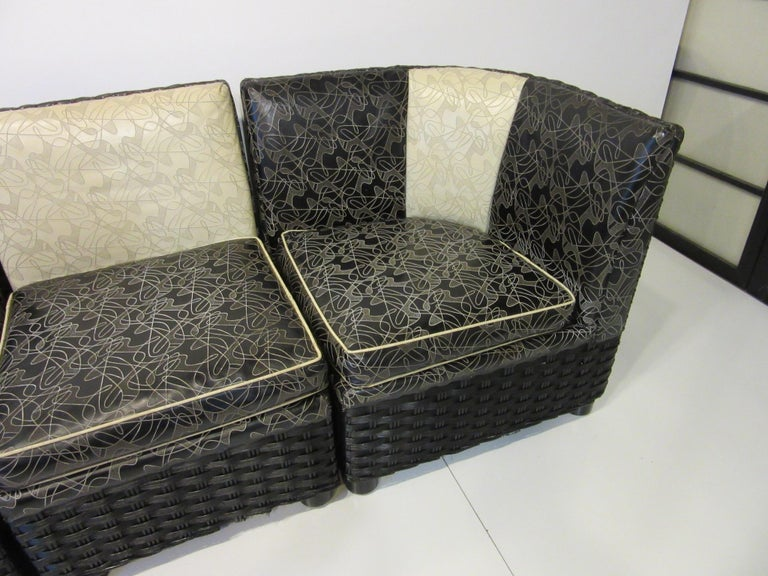 20th Century Art Deco / 1940s Wicker Upholstered 3 Piece, Loveseat or Sofa For Sale