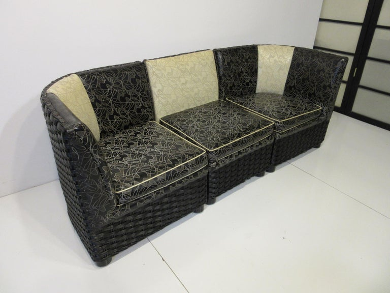Art Deco / 1940s Wicker Upholstered 3 Piece, Loveseat or Sofa For Sale 4