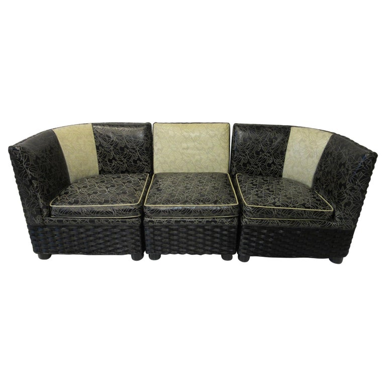 Art Deco / 1940s Wicker Upholstered 3 Piece, Loveseat or Sofa For Sale