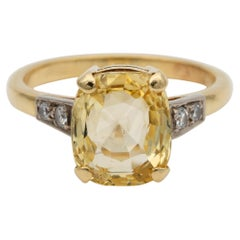Art Deco 4.15 Carat Natural No Heat Yellow Sapphire Diamond Solitaire Ring