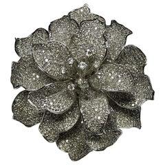 Art Deco Style 4.18 White Diamond 18 Karat White Gold Ring