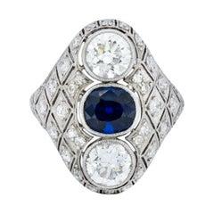 Art Deco 4.22 Carat Sapphire Diamond Platinum Three-Stone Dinner Ring