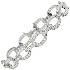 Art Deco 4.25 Carat Diamond Platinum Oval Link Bracelet