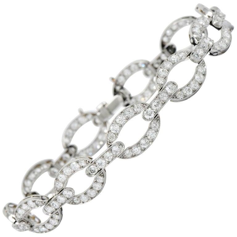 Art Deco 4.25 Carat Diamond Platinum Oval Link Bracelet For Sale