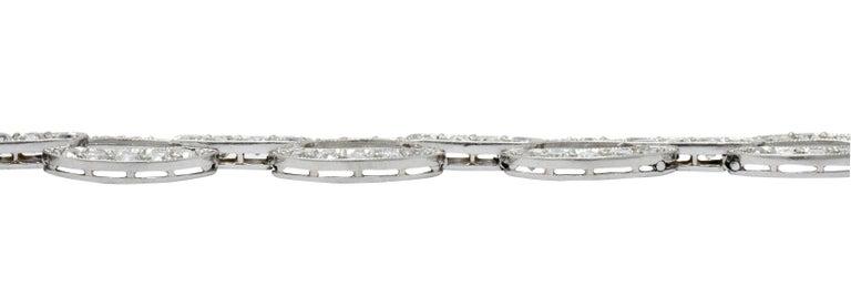 Art Deco 4.25 Carat Diamond Platinum Oval Link Bracelet For Sale 5