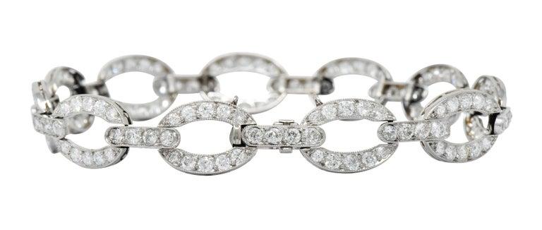 Art Deco 4.25 Carat Diamond Platinum Oval Link Bracelet For Sale 6