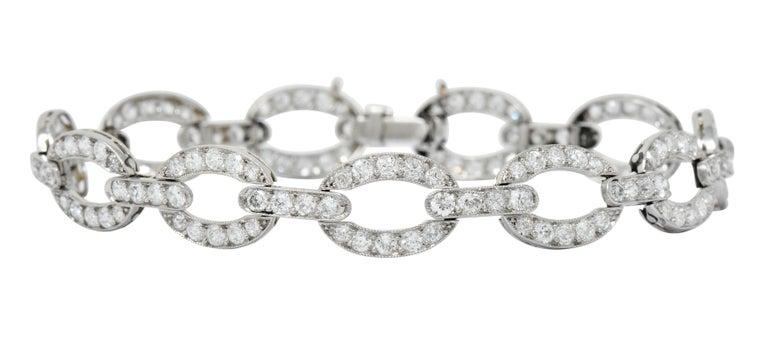 Round Cut Art Deco 4.25 Carat Diamond Platinum Oval Link Bracelet For Sale