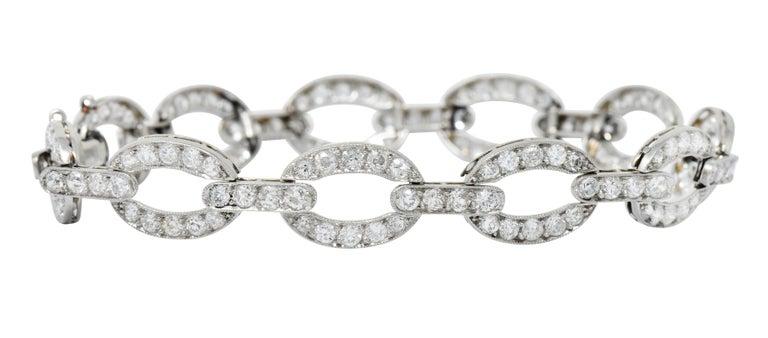 Art Deco 4.25 Carat Diamond Platinum Oval Link Bracelet In Excellent Condition For Sale In Philadelphia, PA