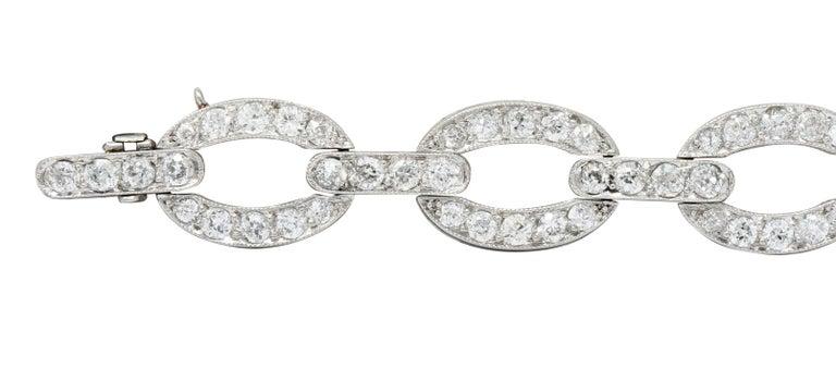 Women's or Men's Art Deco 4.25 Carat Diamond Platinum Oval Link Bracelet For Sale