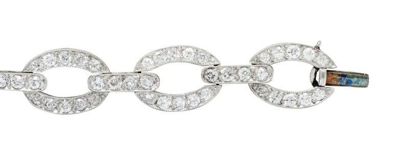 Art Deco 4.25 Carat Diamond Platinum Oval Link Bracelet For Sale 2