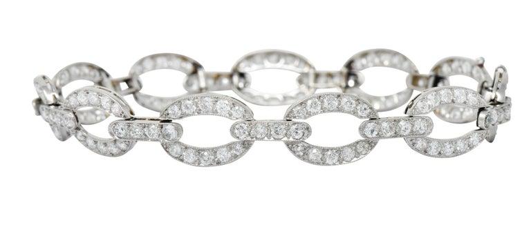 Art Deco 4.25 Carat Diamond Platinum Oval Link Bracelet For Sale 4