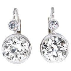 Art Deco 4.28 Carat Old European Cut Diamond Drop Hanging Earrings in Platinum