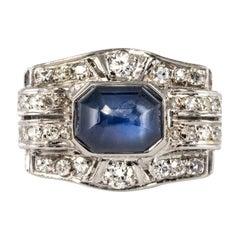 Art Deco 4.30 Carat Cabochon Sapphire Diamonds Platinum Ring