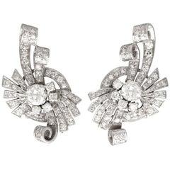 Art Deco 4.39 Carat Diamond and Platinum Earrings