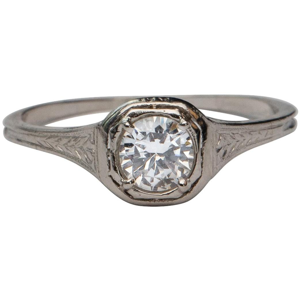 Art Deco .44 Carat Old European Diamond Solitaire Platinum Filigree Ring