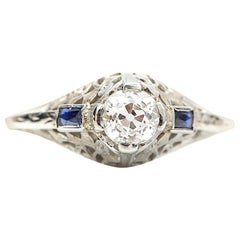 Art Deco .44 Carat Old Miner Cut Diamond Engagement Ring French Cut Sapphires