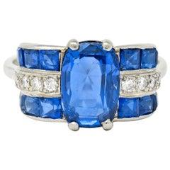 Art Deco 4.41 Carat No Heat Burma Sapphire Diamond Platinum Band Ring GIA