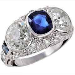 Art Deco 4.45 Carat Diamond, 1.45 Carat Sapphie & Platinum Ring