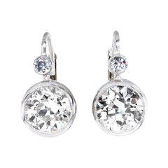 Art Deco 4.45 Carat Old European Cut Diamond Drop Hanging Earrings in Platinum
