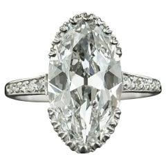 Art Deco 4.45 Carat Oval-Cut Diamond Engagement Ring GIA, D IF Type IIA