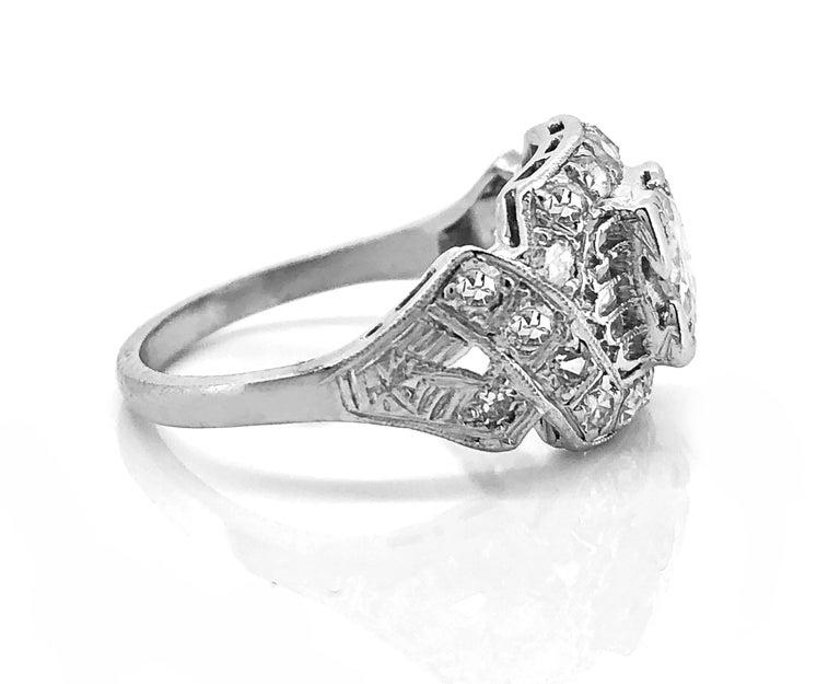 Art Deco 45 Carat Diamond Platinum Engagement Ring For