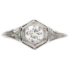 Art Deco .45 Carat Old European Cut Diamond Platinum Engagement Ring