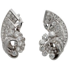 Art Deco 4.50 Carat Diamond Cornucopia Platinum Earrings