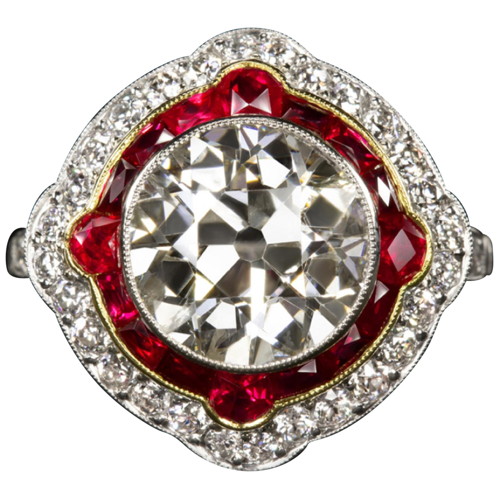 EGL Certified Authentic Art Deco 4 Carat Old Diamond Rubies Cocktail Ring