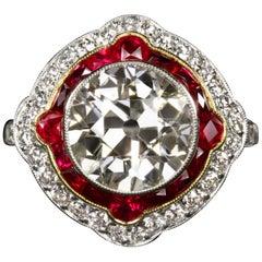 Art Deco 4.50 Carat Old Diamond Rubies Cocktail Ring