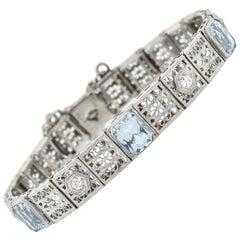 Art Deco 4.50 Total Carat Aquamarine and Diamond Filigree Link Bracelet