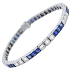 Art Deco 4.50 Total Carat Sapphire and 2.88 Total Carat Diamond Link Bracelet
