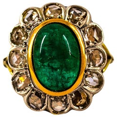 Art Deco Style 4.60 Carat Emerald 1.30 Carat White Diamond Yellow Gold Ring
