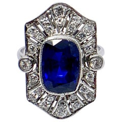 Art Deco 4.76 Carat Cushion Shaped Sapphire and Diamond and Platinum Ring