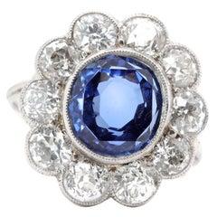 Art Deco 4.82 Carat GIA Natural Burma No Heat Sapphire Diamond Platinum Ring