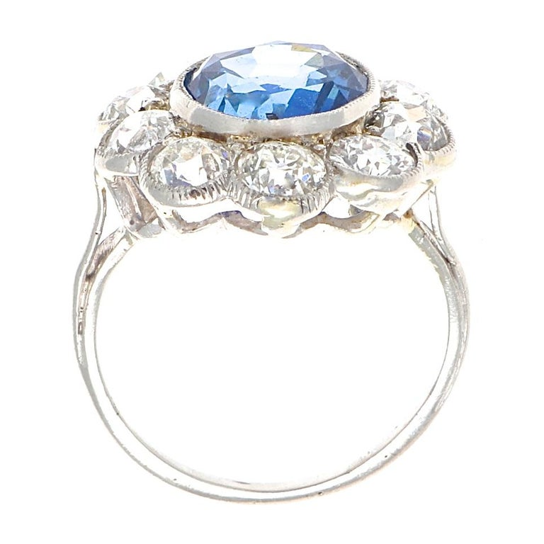 Art Deco 4.82 Carat Natural Burma Sapphire Diamond Platinum Ring In Excellent Condition For Sale In Beverly Hills, CA