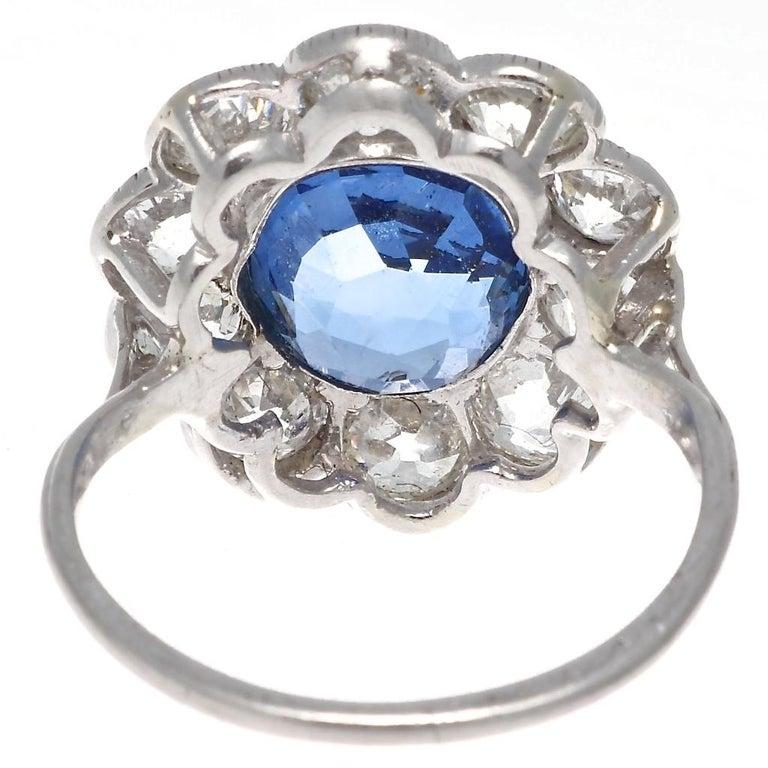 Women's Art Deco 4.82 Carat Natural Burma Sapphire Diamond Platinum Ring For Sale
