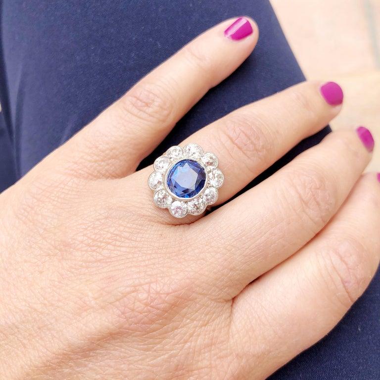 Art Deco 4.82 Carat Natural Burma Sapphire Diamond Platinum Ring For Sale 1