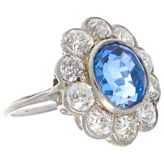 Art Deco 4.82 Carat Natural Burma Sapphire Diamond Platinum Ring