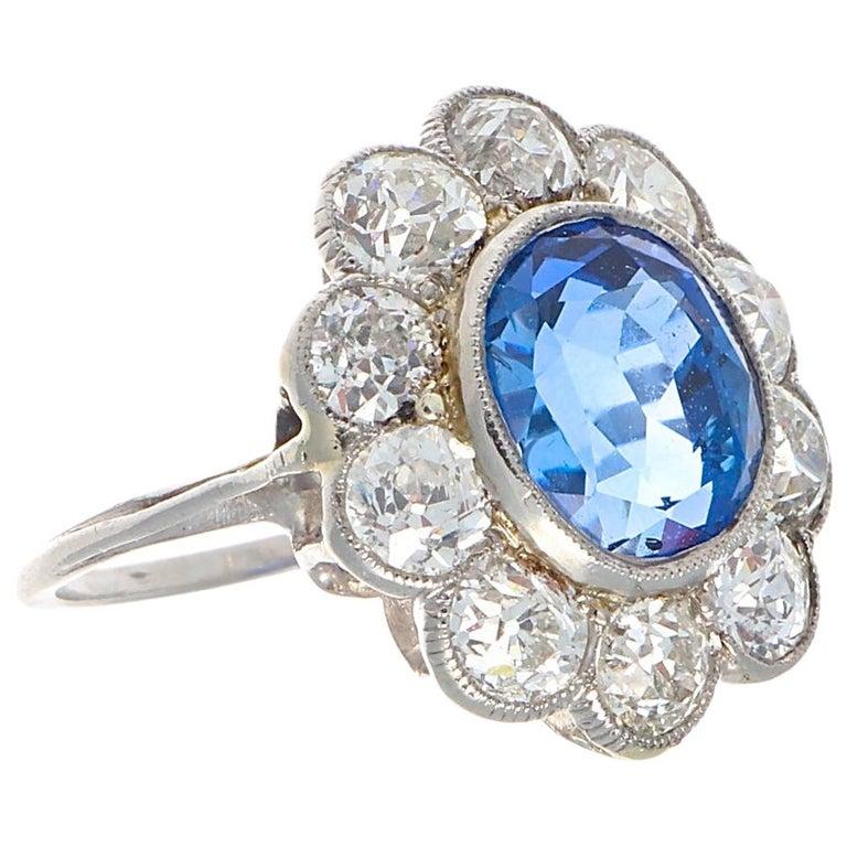 Art Deco 4.82 Carat Natural Burma Sapphire Diamond Platinum Ring For Sale