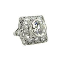 Art Deco 4ct Old European Cut Diamonds Ring, Platinum, circa 1925