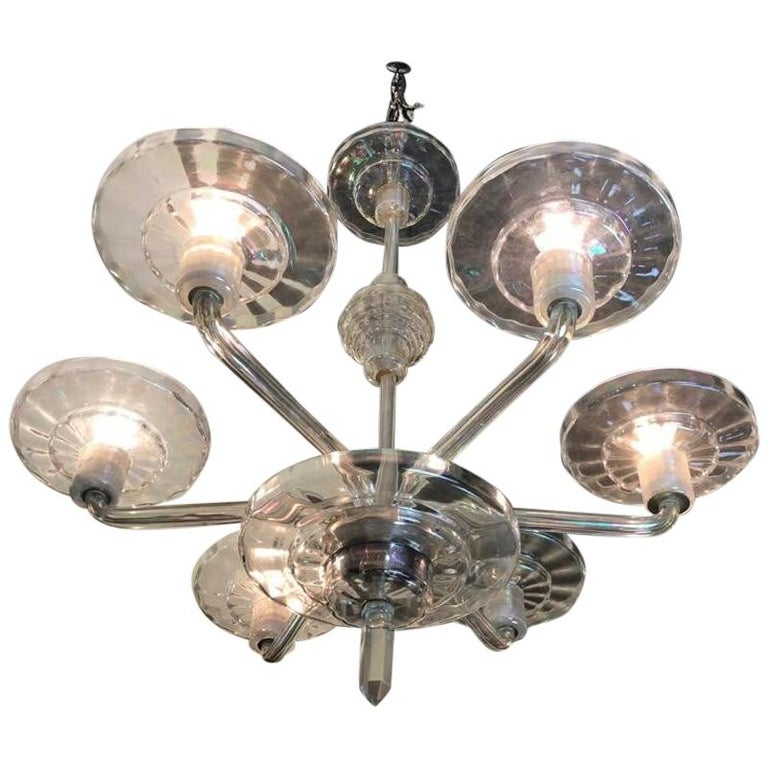 art deco 5 arm crystal chandelier for sale at 1stdibs