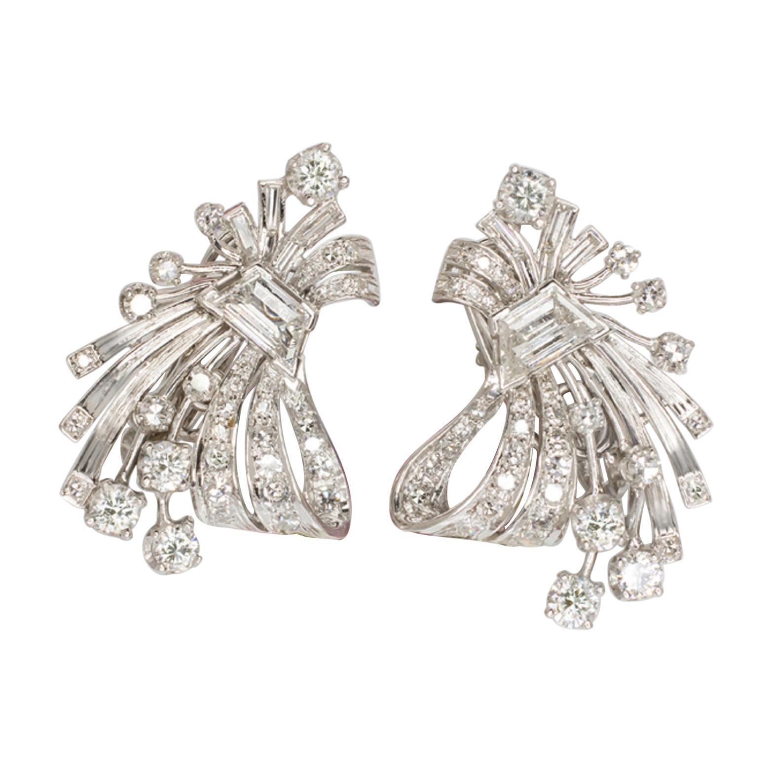 Art Deco 5 Carat Platinum White Diamond Earrings F VS Clarity