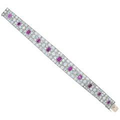 Art Deco 5 Carat Ruby and 20ct Diamond Platinum Bracelet with French Hallmarks
