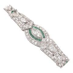 Art Deco 5.0 Carat Diamond & Emerald Platinum Bracelet