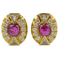 Antique 5.0 Carat No Heat Ruby 3.90 Carat Diamond Earrings