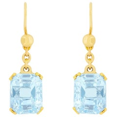 Art Deco 5.00 Carat Aquamarine Drop Earrings, circa 1930s