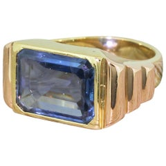 Art Deco 5.00 Carat Emerald Cut Natural Sapphire 18 Karat Gold Solitaire Ring