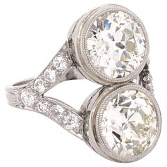 Art Deco 5.00 Carat Old European Diamond Platinum Ring Estate Fine Jewelry